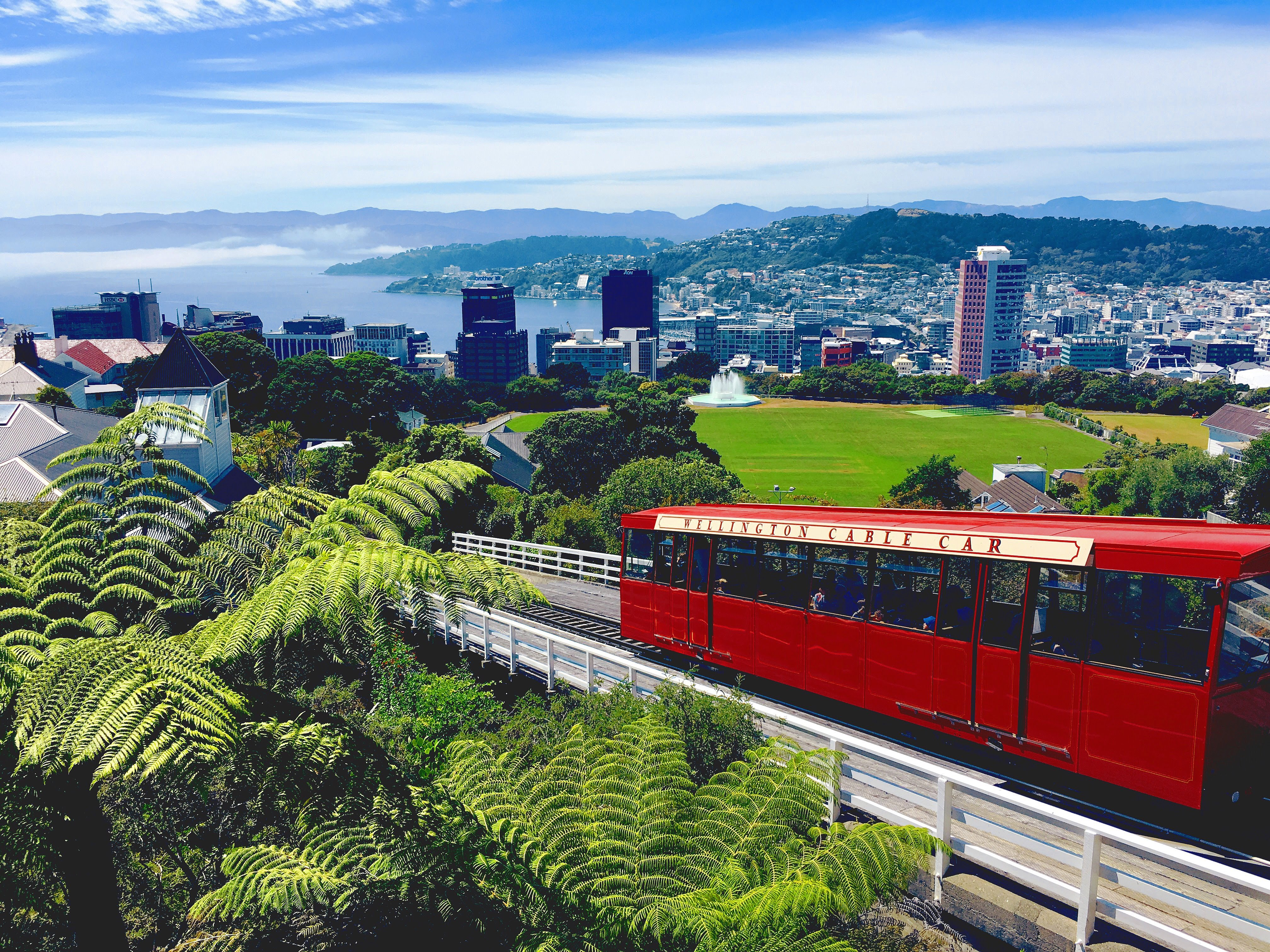 Riding the funicular in Wellington